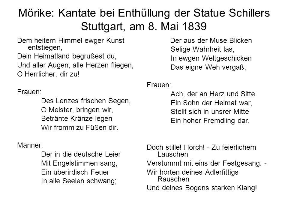 Mörike: Kantate bei Enthüllung der Statue Schillers Stuttgart, am 8