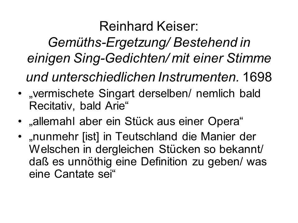 Reinhard Keiser: Gemüths-Ergetzung/ Bestehend in einigen Sing-Gedichten/ mit einer Stimme und unterschiedlichen Instrumenten. 1698