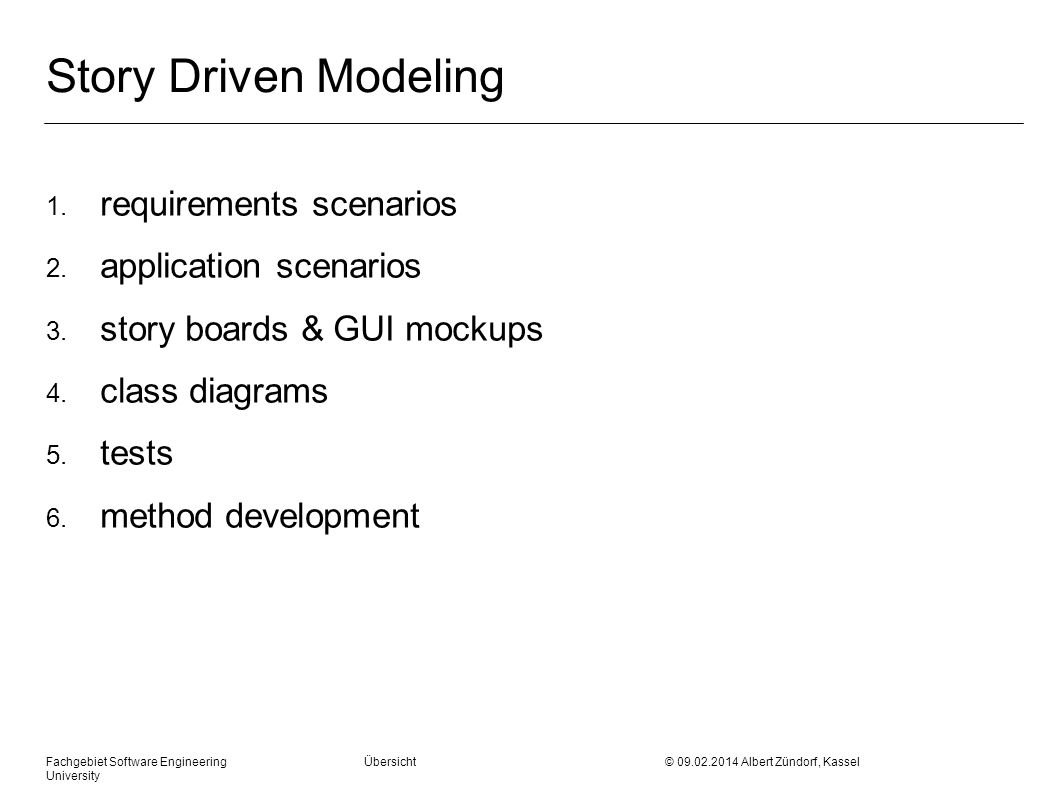 Story Driven Modeling requirements scenarios application scenarios
