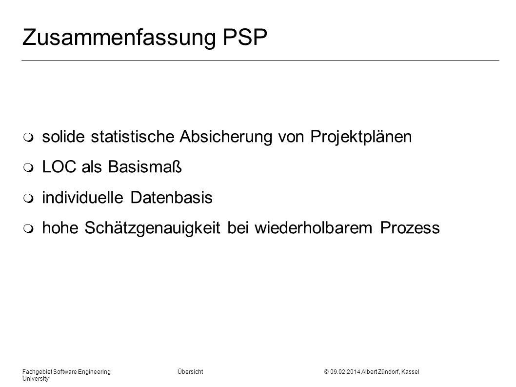 Zusammenfassung PSP solide statistische Absicherung von Projektplänen