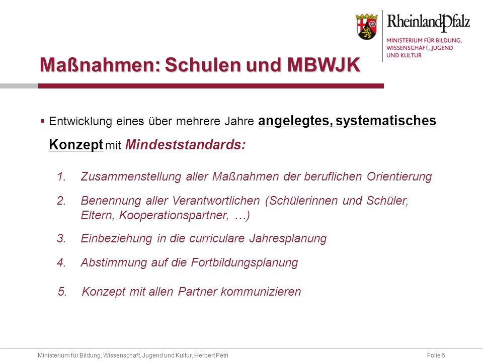 Maßnahmen: Schulen und MBWJK