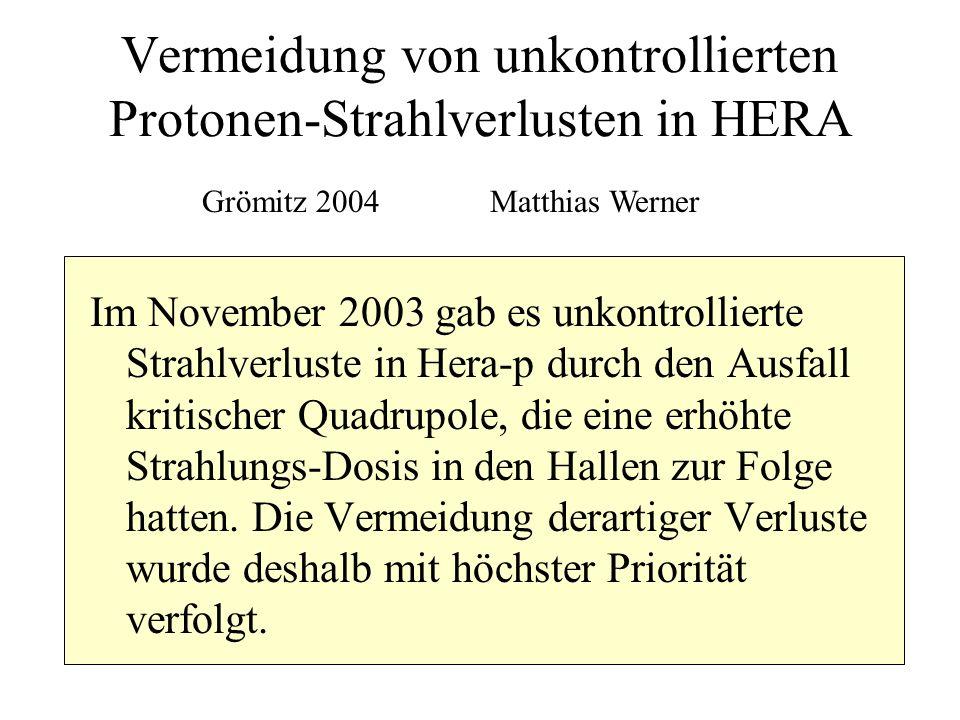 Vermeidung von unkontrollierten Protonen-Strahlverlusten in HERA