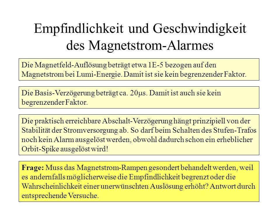 Empfindlichkeit und Geschwindigkeit des Magnetstrom-Alarmes