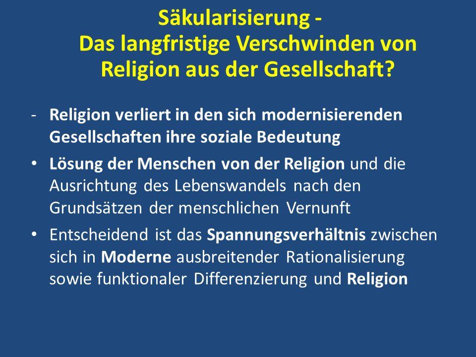Säkularisierung - Das langfristige Verschwinden von Religion aus der Gesellschaft