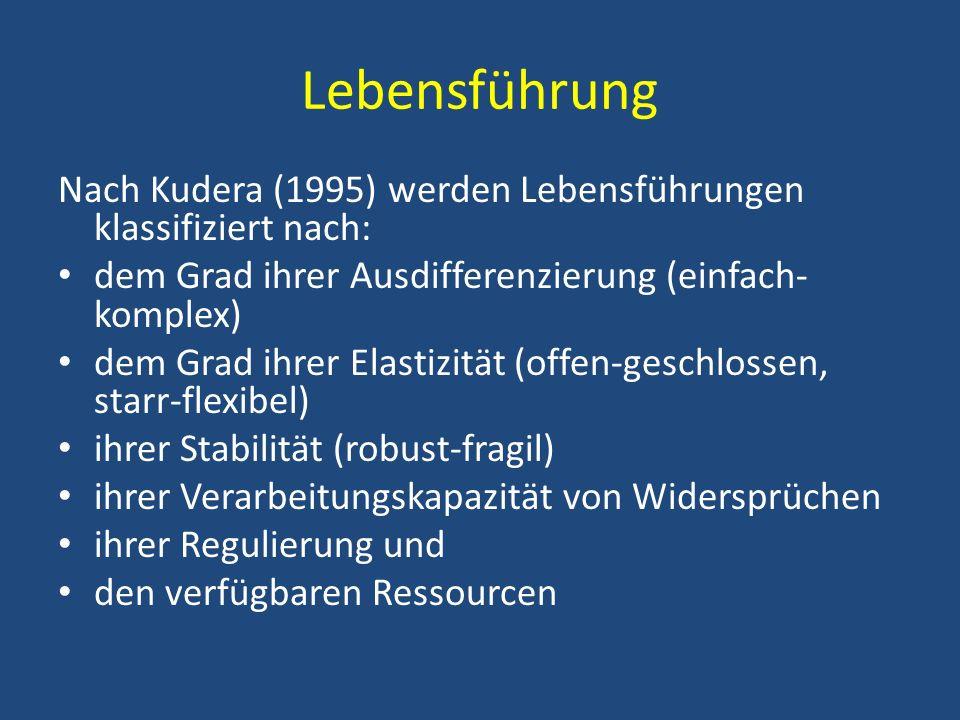 Lebensführung Nach Kudera (1995) werden Lebensführungen klassifiziert nach: dem Grad ihrer Ausdifferenzierung (einfach-komplex)