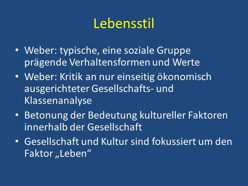 Lebensstil Weber: typische, eine soziale Gruppe prägende Verhaltensformen und Werte.