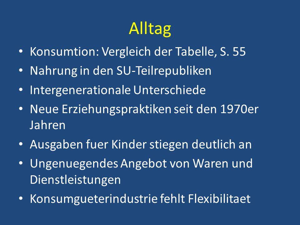 Alltag Konsumtion: Vergleich der Tabelle, S. 55