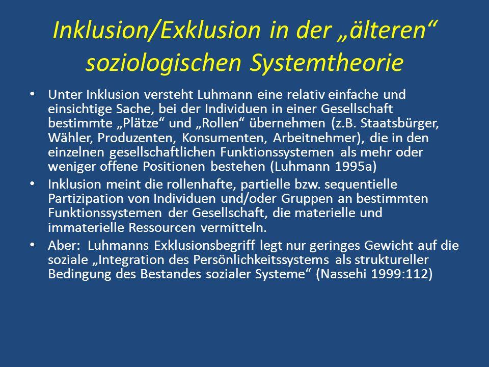 """Inklusion/Exklusion in der """"älteren soziologischen Systemtheorie"""
