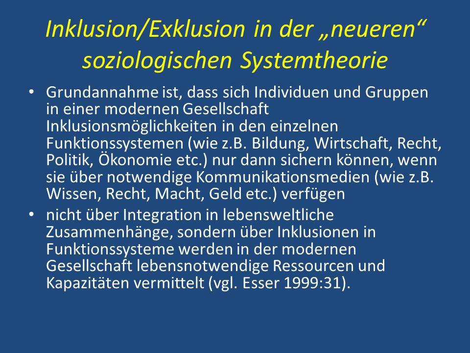 """Inklusion/Exklusion in der """"neueren soziologischen Systemtheorie"""