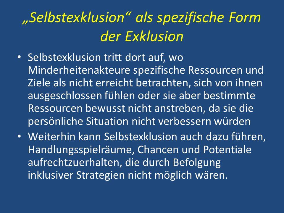 """""""Selbstexklusion als spezifische Form der Exklusion"""