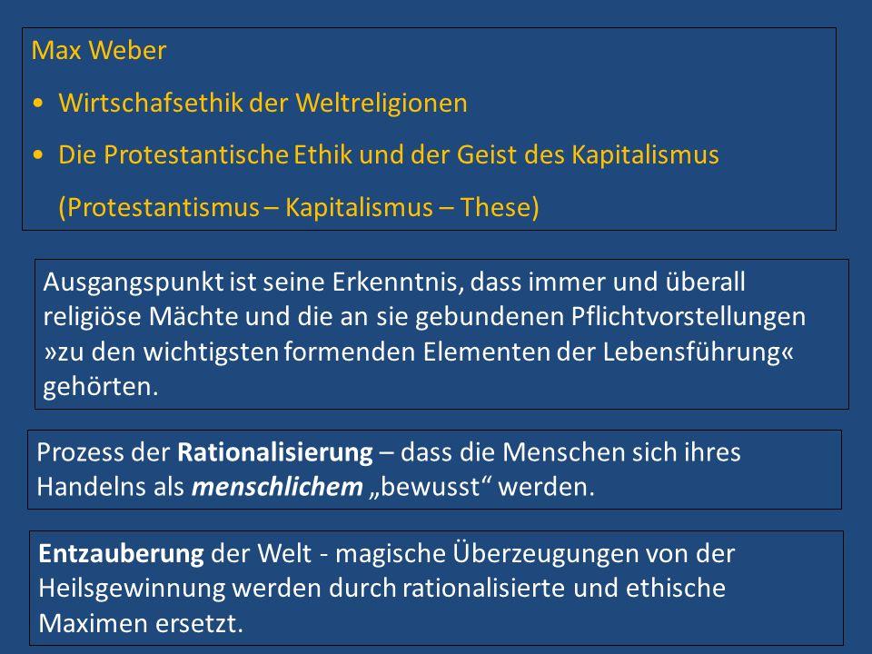 Max Weber Wirtschafsethik der Weltreligionen. Die Protestantische Ethik und der Geist des Kapitalismus.