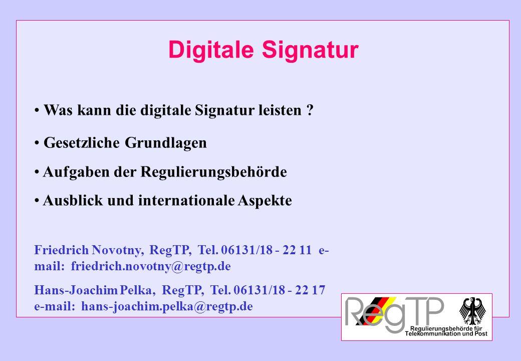 Digitale Signatur Was kann die digitale Signatur leisten