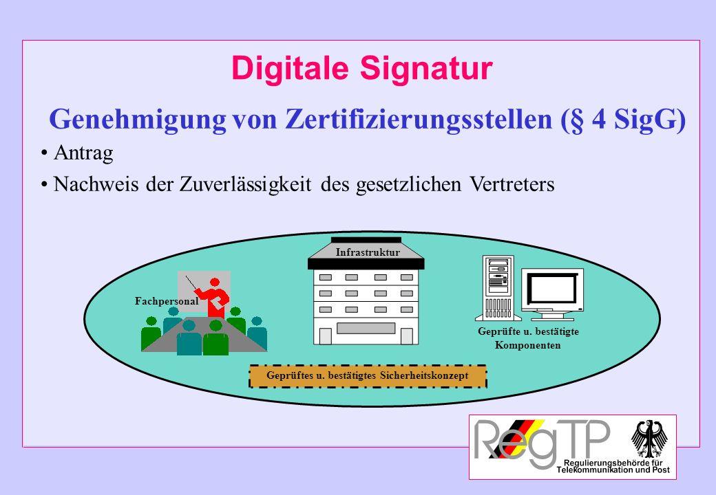 Digitale Signatur Genehmigung von Zertifizierungsstellen (§ 4 SigG)