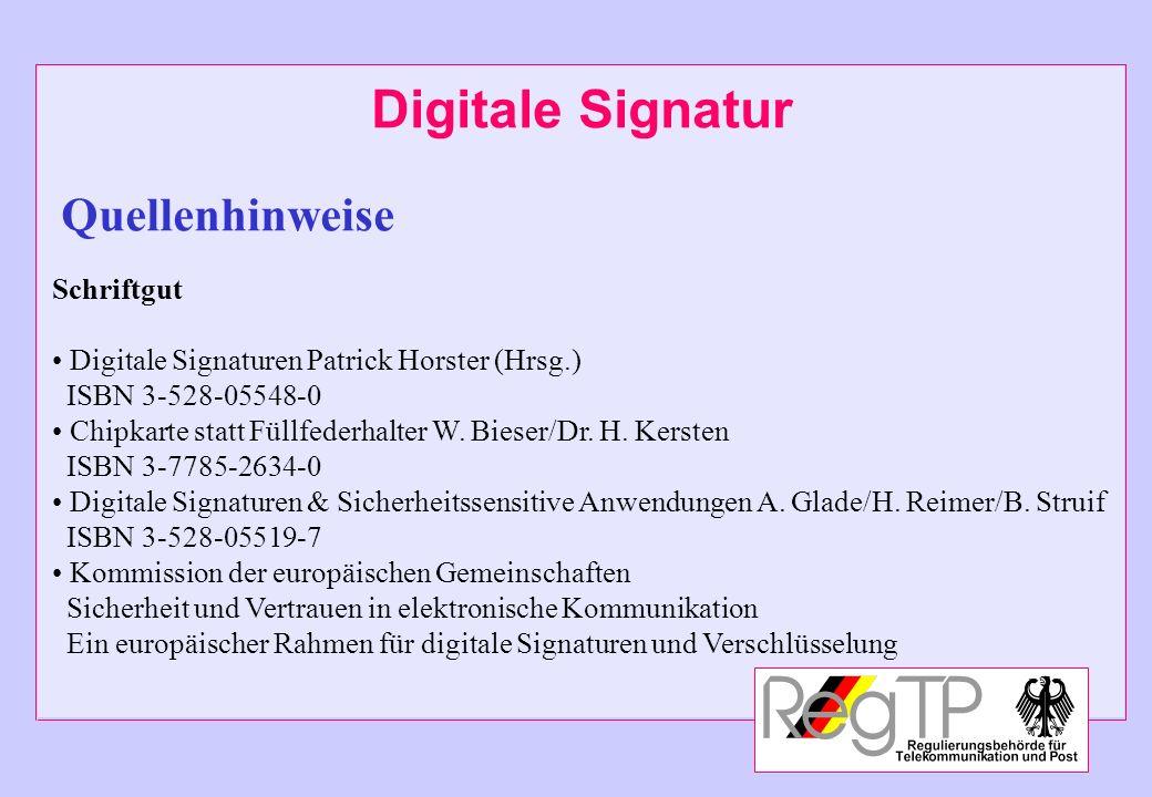 Digitale Signatur Quellenhinweise Schriftgut