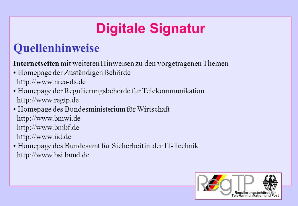 Digitale Signatur Quellenhinweise