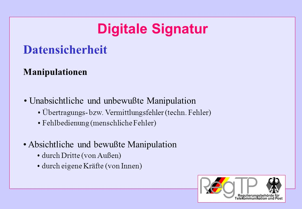 Digitale Signatur Datensicherheit Manipulationen