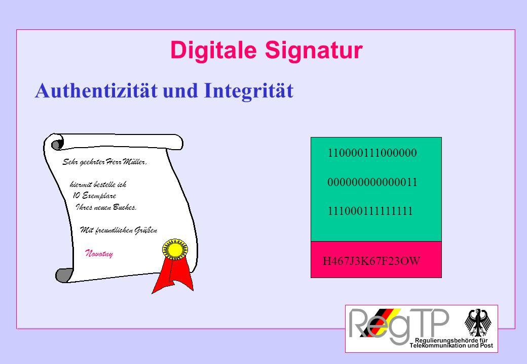 Digitale Signatur Authentizität und Integrität 110000111000000