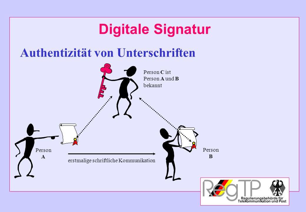 Digitale Signatur Authentizität von Unterschriften Person C ist