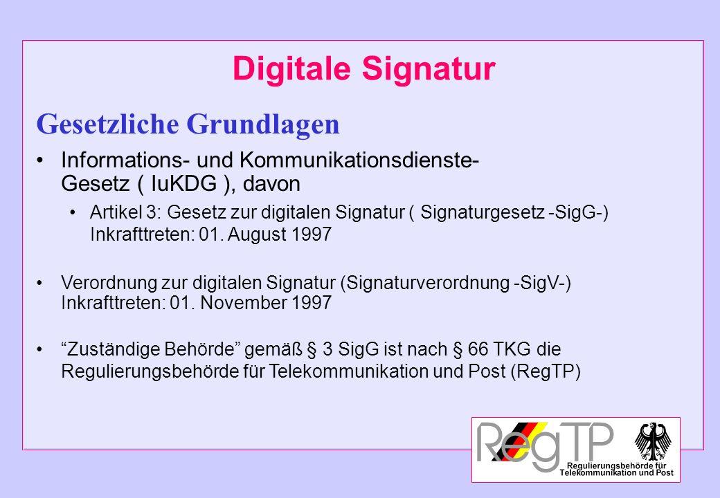 Digitale Signatur Gesetzliche Grundlagen