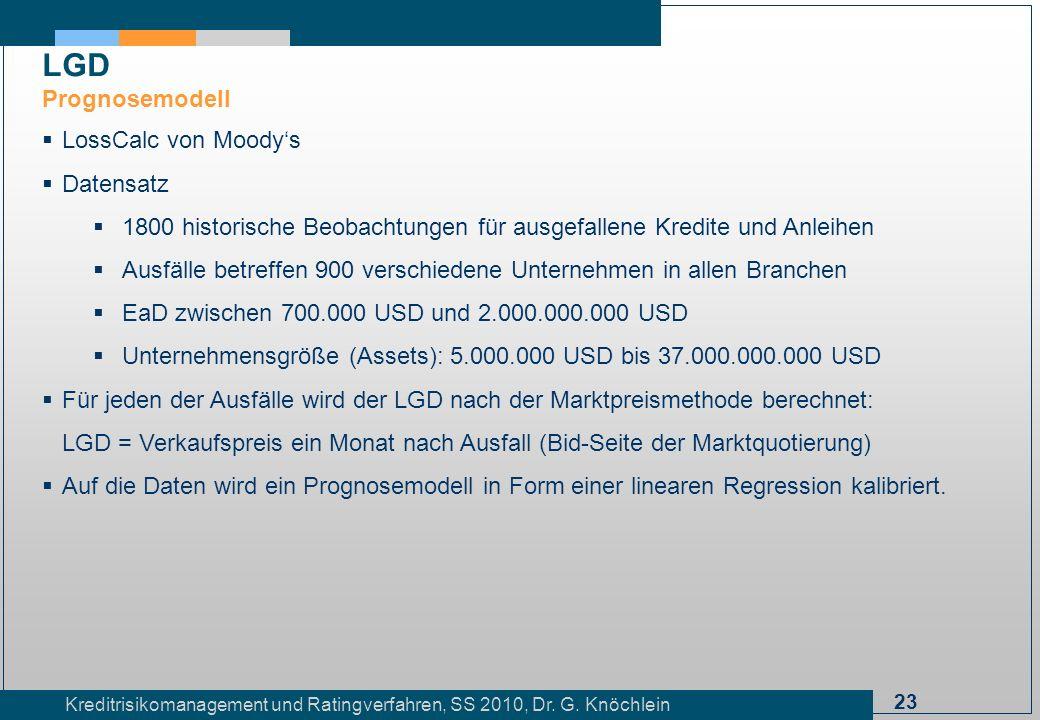 LGD Prognosemodell LossCalc von Moody's Datensatz