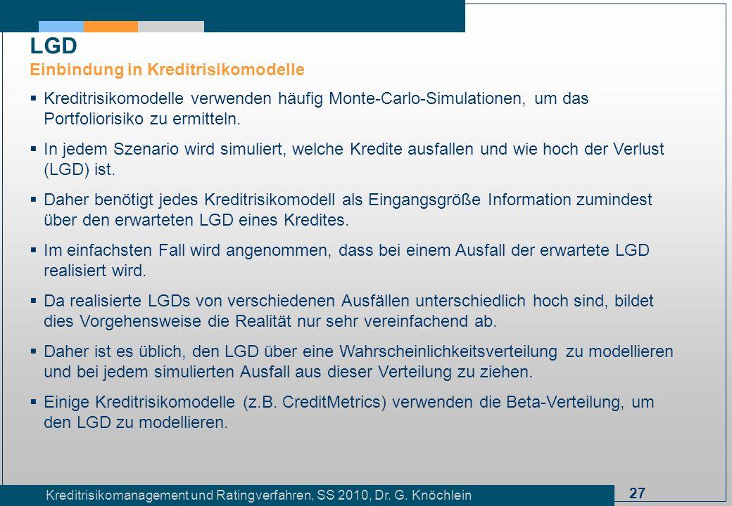 LGD Einbindung in Kreditrisikomodelle