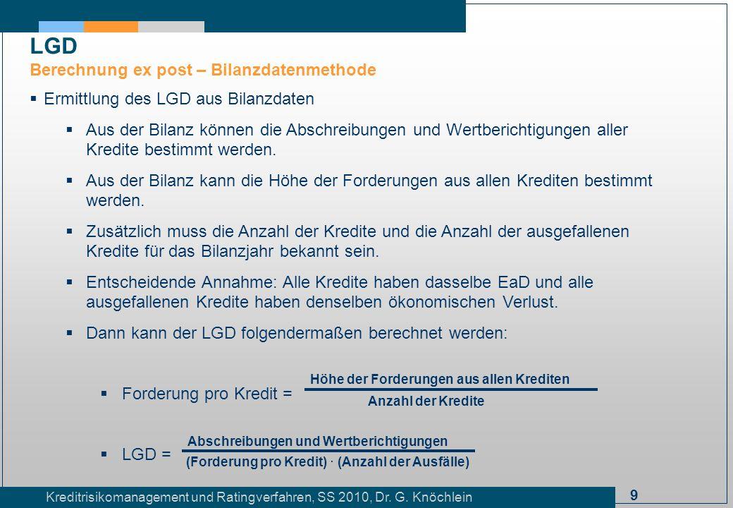 LGD Berechnung ex post – Bilanzdatenmethode
