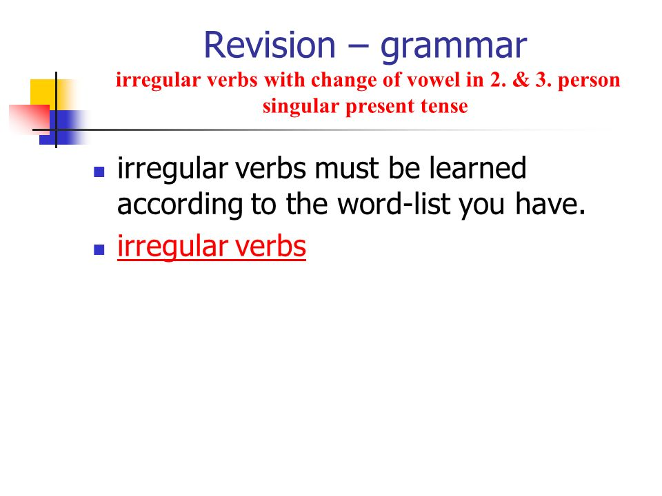 Revision – grammar irregular verbs with change of vowel in 2. & 3
