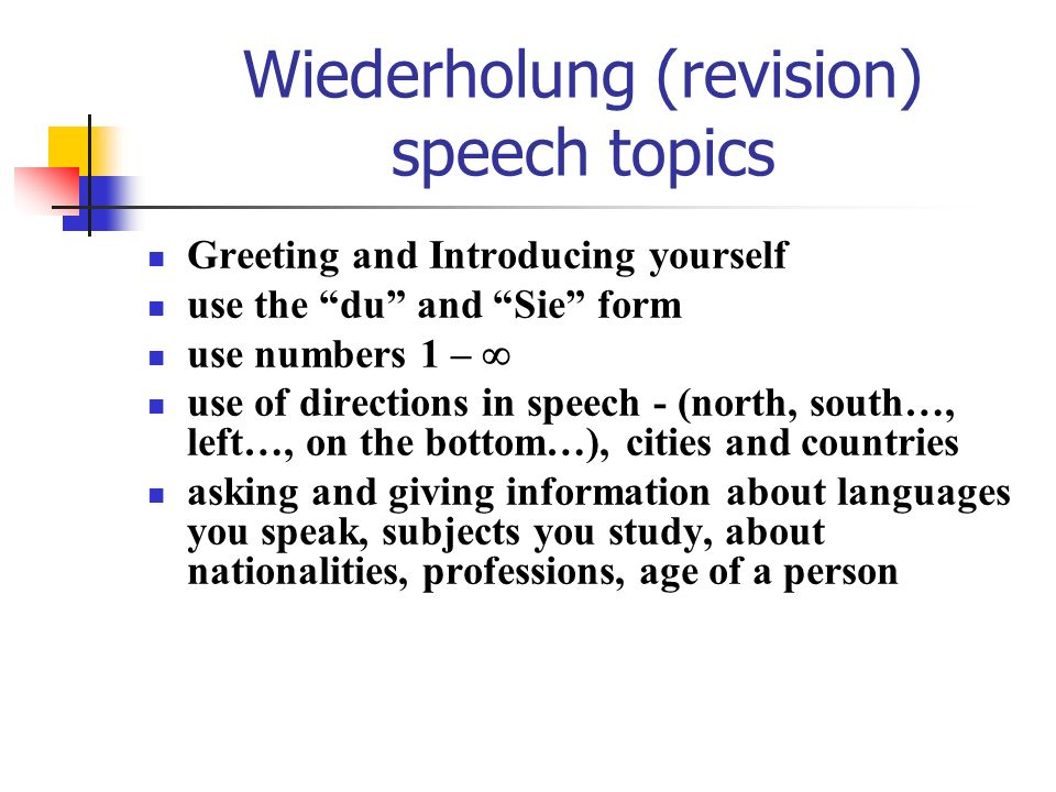 Wiederholung (revision) speech topics