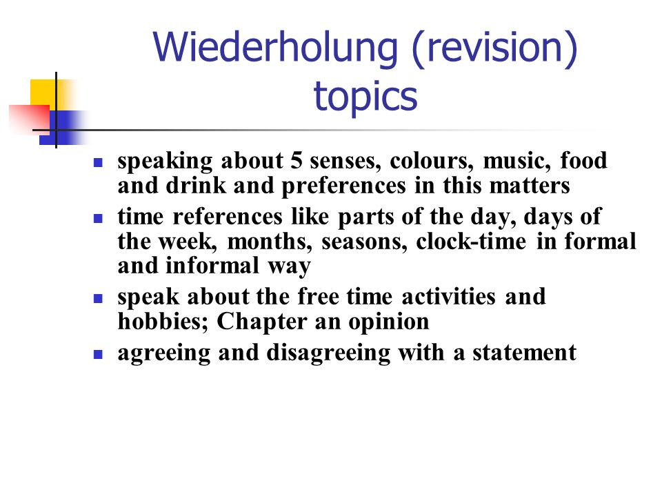 Wiederholung (revision) topics