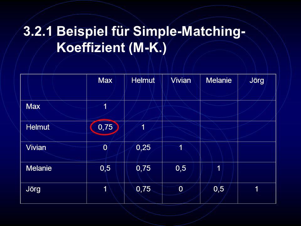 3.2.1 Beispiel für Simple-Matching- Koeffizient (M-K.)
