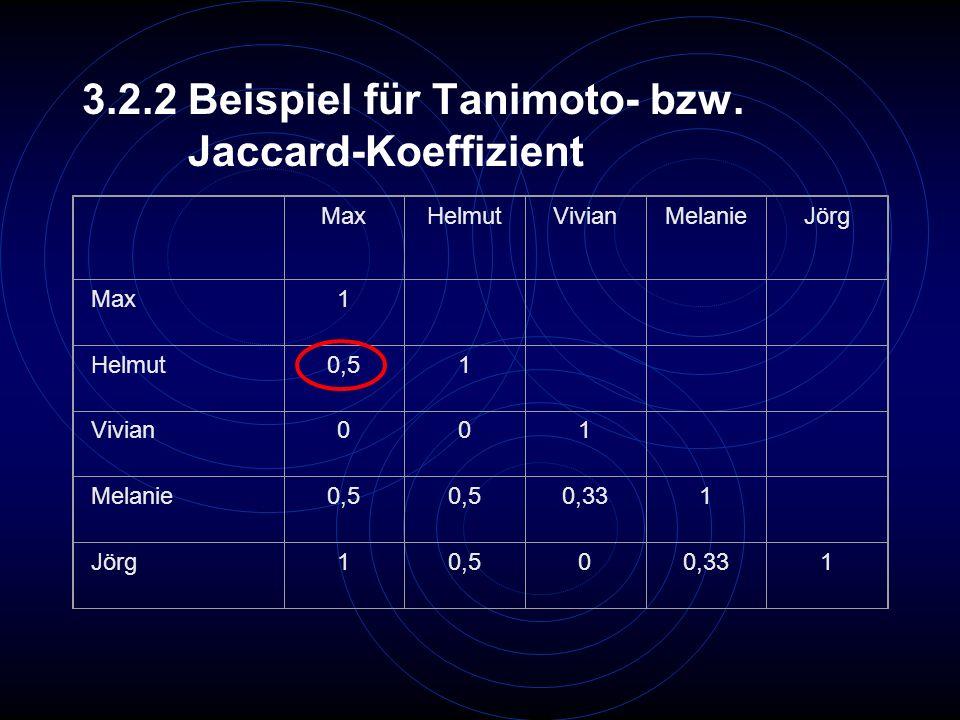 3.2.2 Beispiel für Tanimoto- bzw. Jaccard-Koeffizient