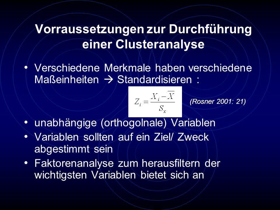 Vorraussetzungen zur Durchführung einer Clusteranalyse