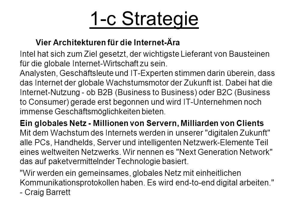 1-c Strategie Vier Architekturen für die Internet-Ära.