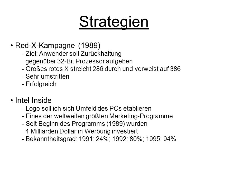 Strategien Red-X-Kampagne (1989) Intel Inside
