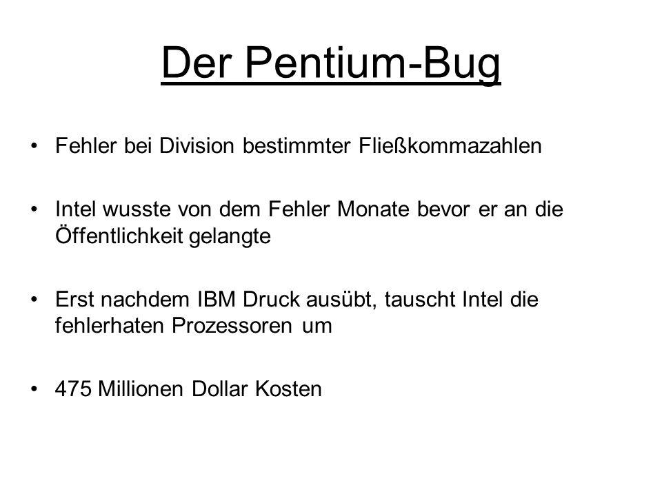 Der Pentium-Bug Fehler bei Division bestimmter Fließkommazahlen