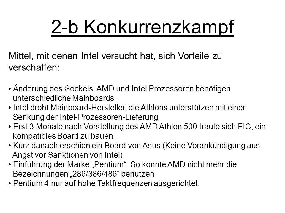 2-b Konkurrenzkampf Mittel, mit denen Intel versucht hat, sich Vorteile zu verschaffen: Änderung des Sockels. AMD und Intel Prozessoren benötigen.