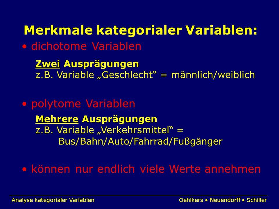 Merkmale kategorialer Variablen: