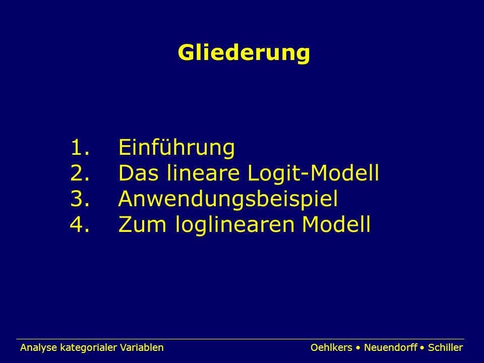 Gliederung 1. Einführung. 2. Das lineare Logit-Modell.