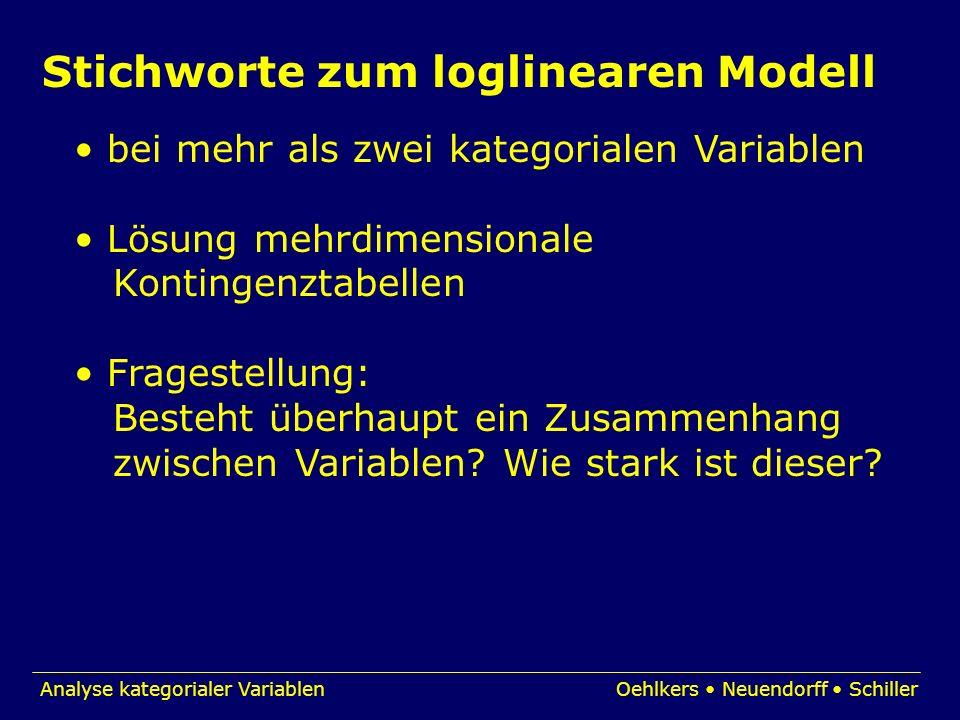 Stichworte zum loglinearen Modell