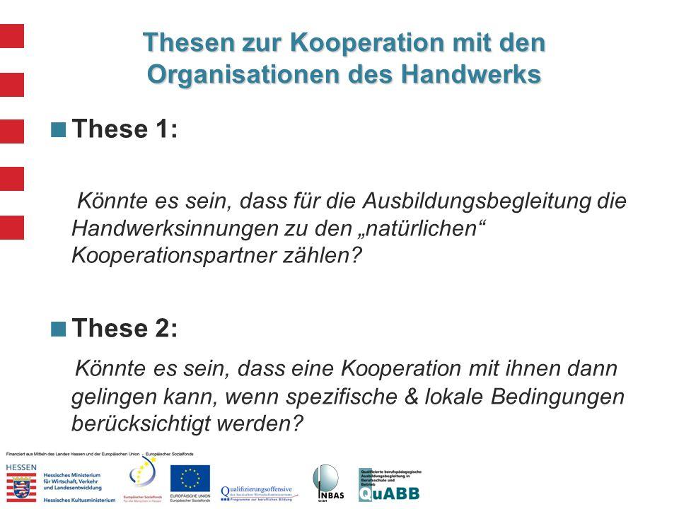 Thesen zur Kooperation mit den Organisationen des Handwerks