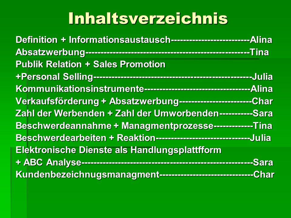 Inhaltsverzeichnis Definition + Informationsaustausch--------------------------Alina.