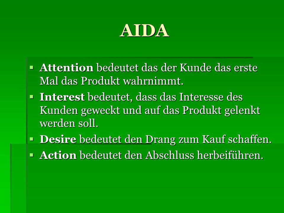 AIDA Attention bedeutet das der Kunde das erste Mal das Produkt wahrnimmt.
