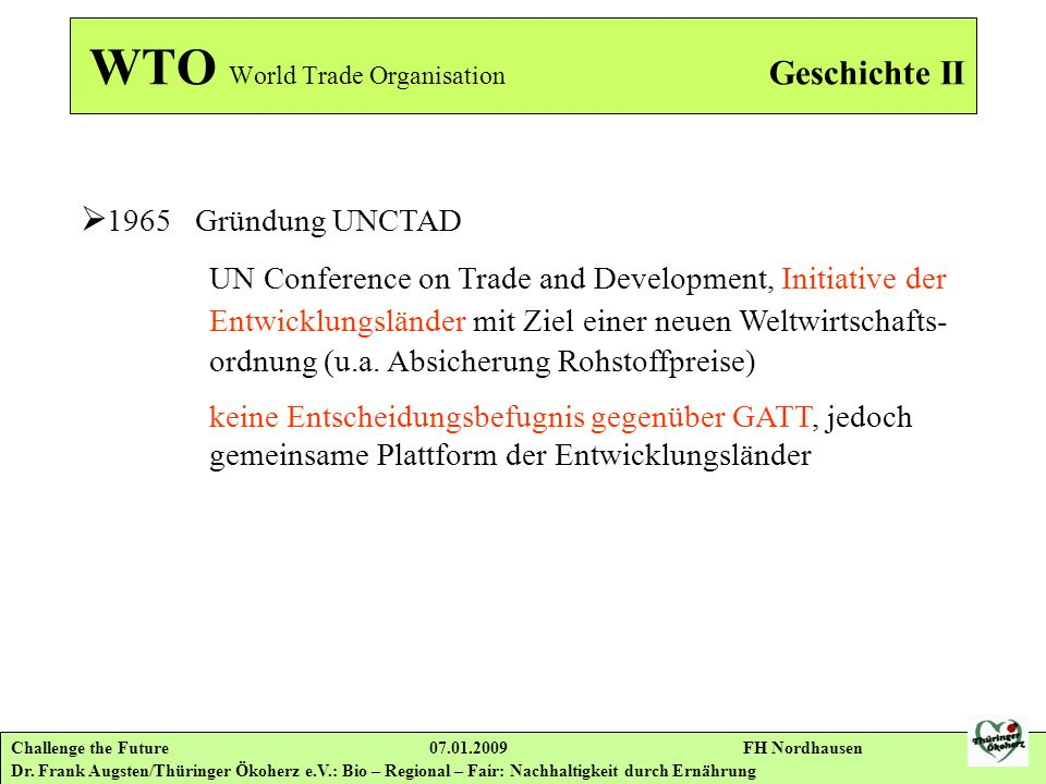 WTO World Trade Organisation Geschichte II