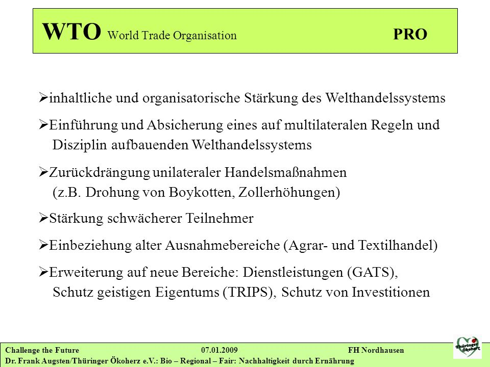 WTO World Trade Organisation PRO