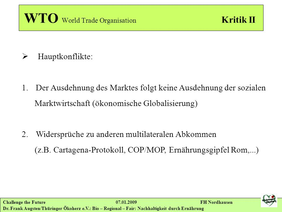 WTO World Trade Organisation Kritik II