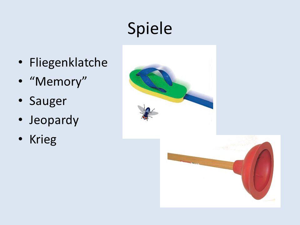 Spiele Fliegenklatche Memory Sauger Jeopardy Krieg