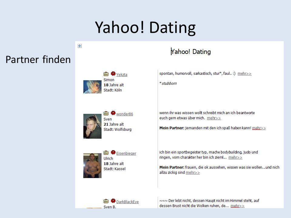 Yahoo! Dating Partner finden
