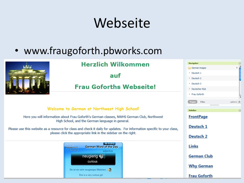 Webseite www.fraugoforth.pbworks.com