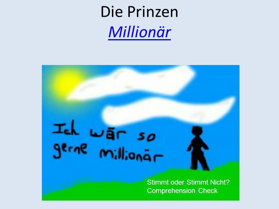 Die Prinzen Millionär Stimmt oder Stimmt Nicht Comprehension Check