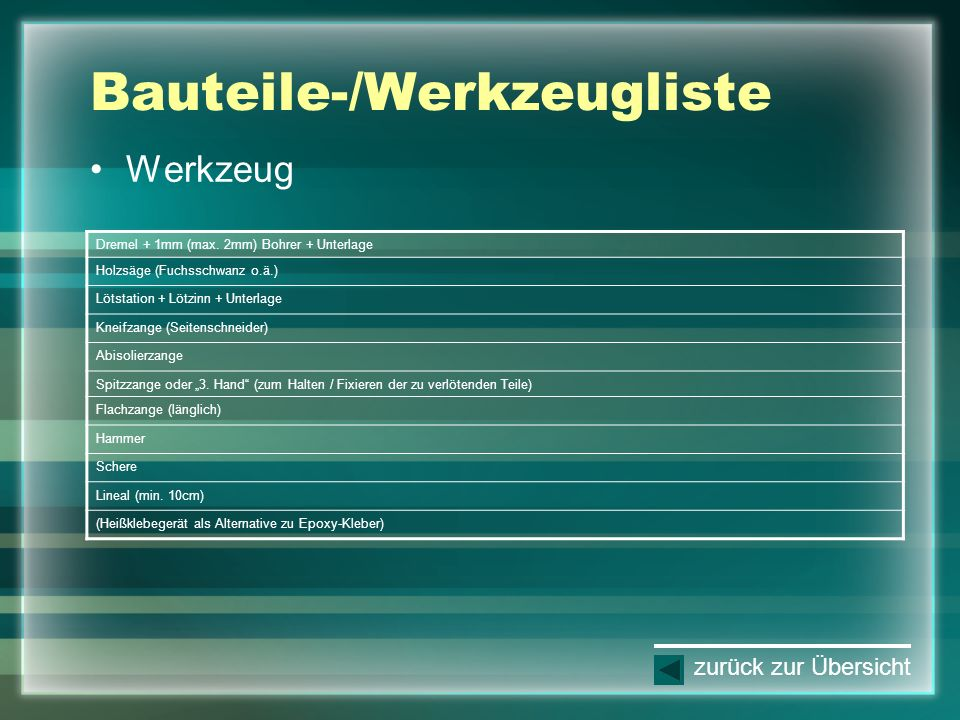 Bauteile-/Werkzeugliste